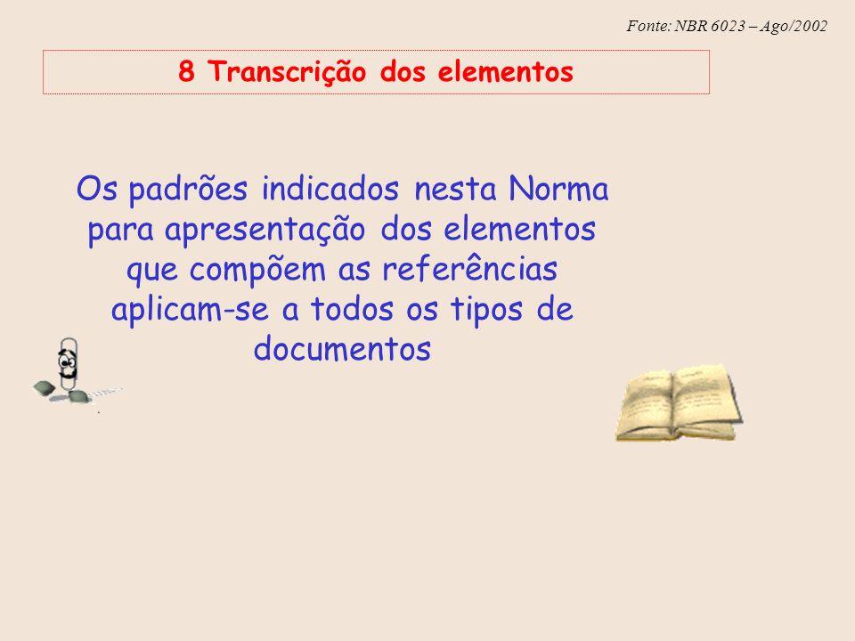 8 Transcrição dos elementos
