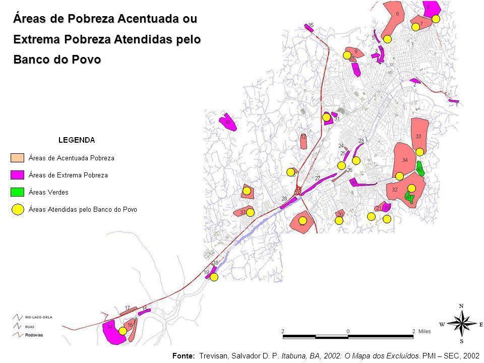 Áreas de Pobreza Acentuada ou Extrema Pobreza Atendidas pelo Banco do Povo