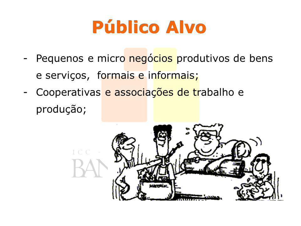 Público Alvo Pequenos e micro negócios produtivos de bens e serviços, formais e informais; Cooperativas e associações de trabalho e produção;