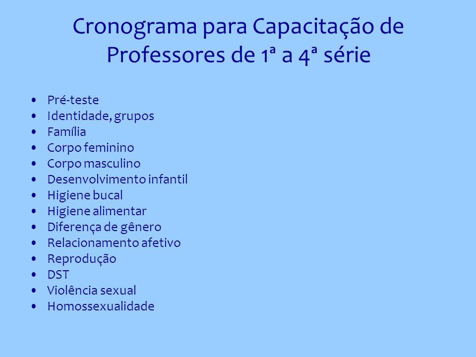 Cronograma para Capacitação de Professores de 1ª a 4ª série