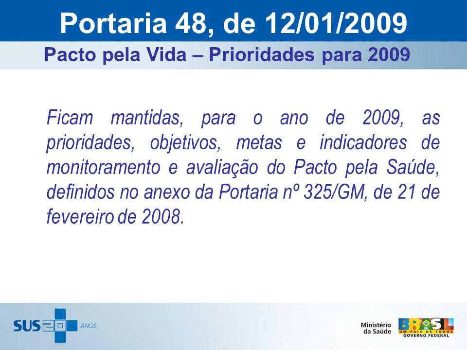 Pacto pela Vida – Prioridades para 2009