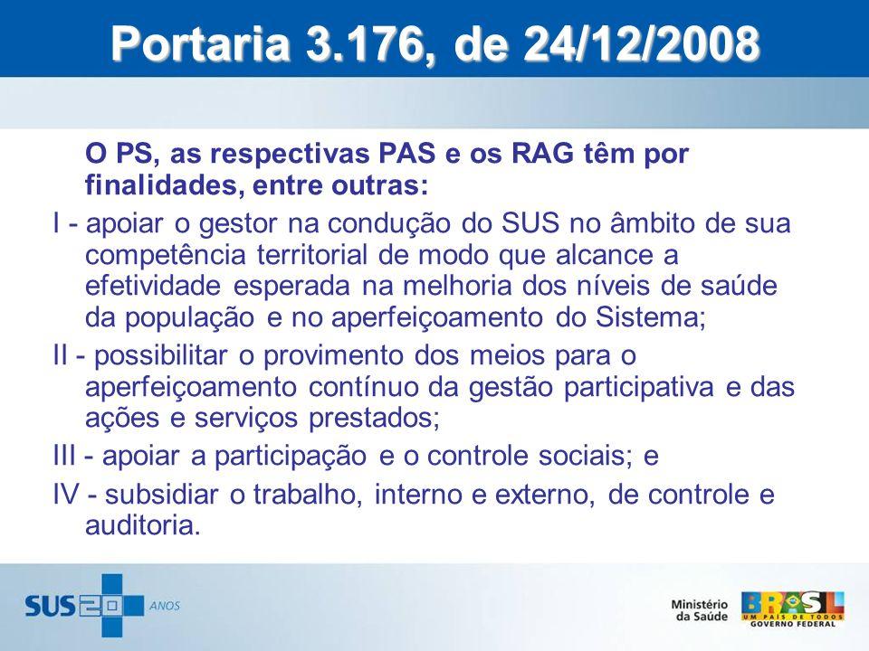 Portaria 3.176, de 24/12/2008 O PS, as respectivas PAS e os RAG têm por finalidades, entre outras:
