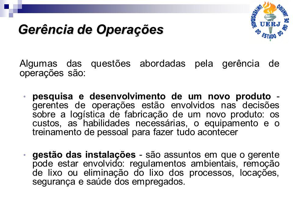 Gerência de Operações Algumas das questões abordadas pela gerência de operações são:
