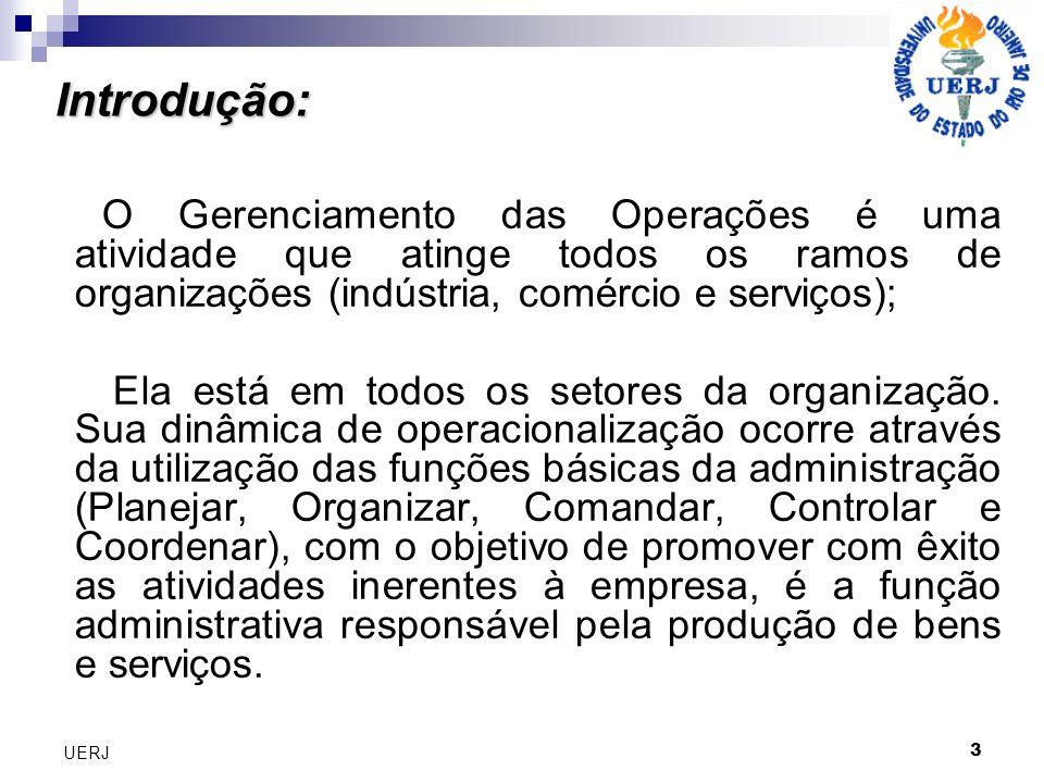 Introdução: O Gerenciamento das Operações é uma atividade que atinge todos os ramos de organizações (indústria, comércio e serviços);