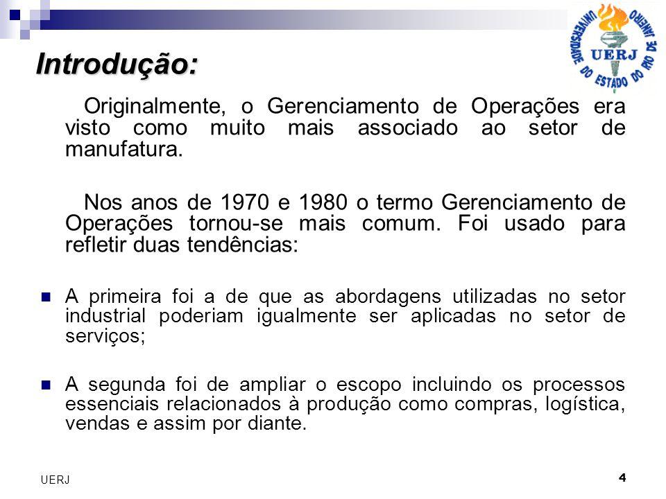 Introdução: Originalmente, o Gerenciamento de Operações era visto como muito mais associado ao setor de manufatura.