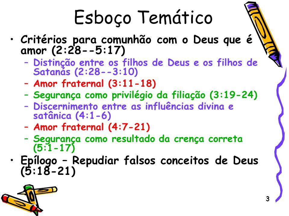 Esboço Temático Critérios para comunhão com o Deus que é amor (2:28--5:17) Distinção entre os filhos de Deus e os filhos de Satanás (2:28--3:10)