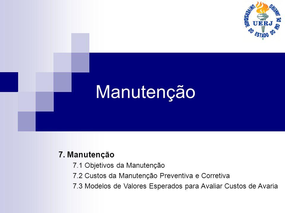 Manutenção 7. Manutenção 7.1 Objetivos da Manutenção