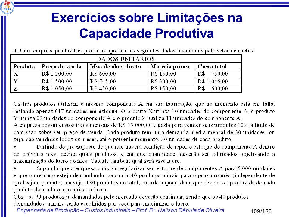 Exercícios sobre Limitações na Capacidade Produtiva