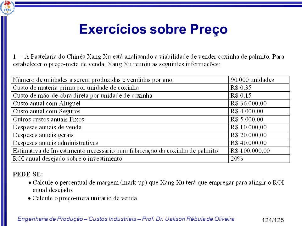 Exercícios sobre Preço