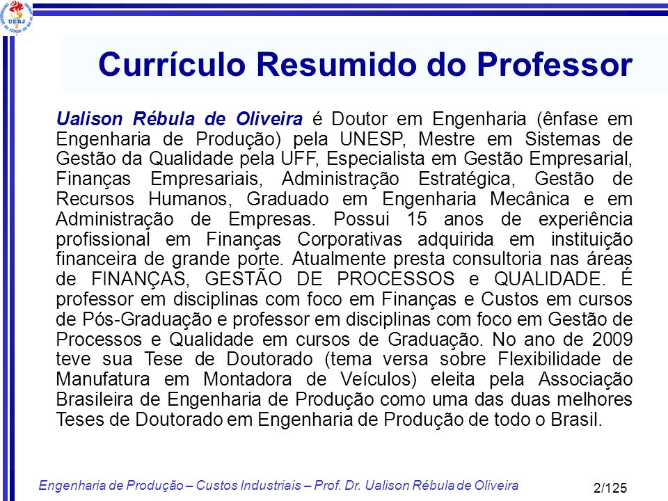 Currículo Resumido do Professor