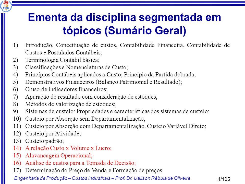 Ementa da disciplina segmentada em tópicos (Sumário Geral)