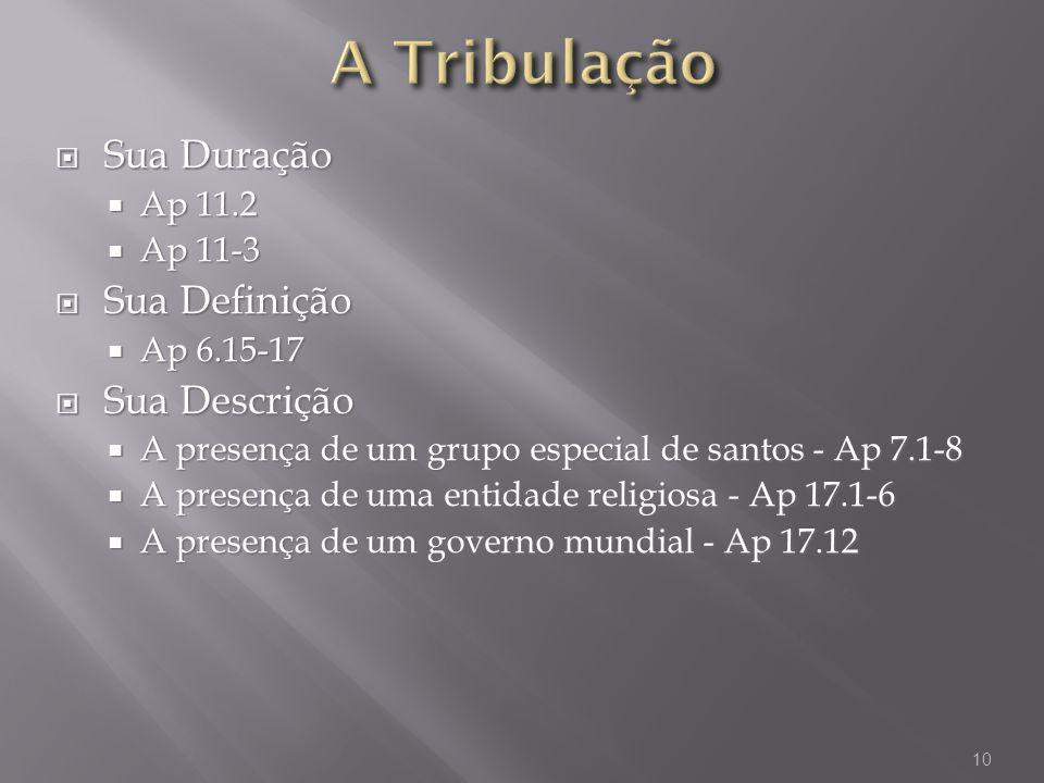 A Tribulação Sua Duração Sua Definição Sua Descrição Ap 11.2 Ap 11-3