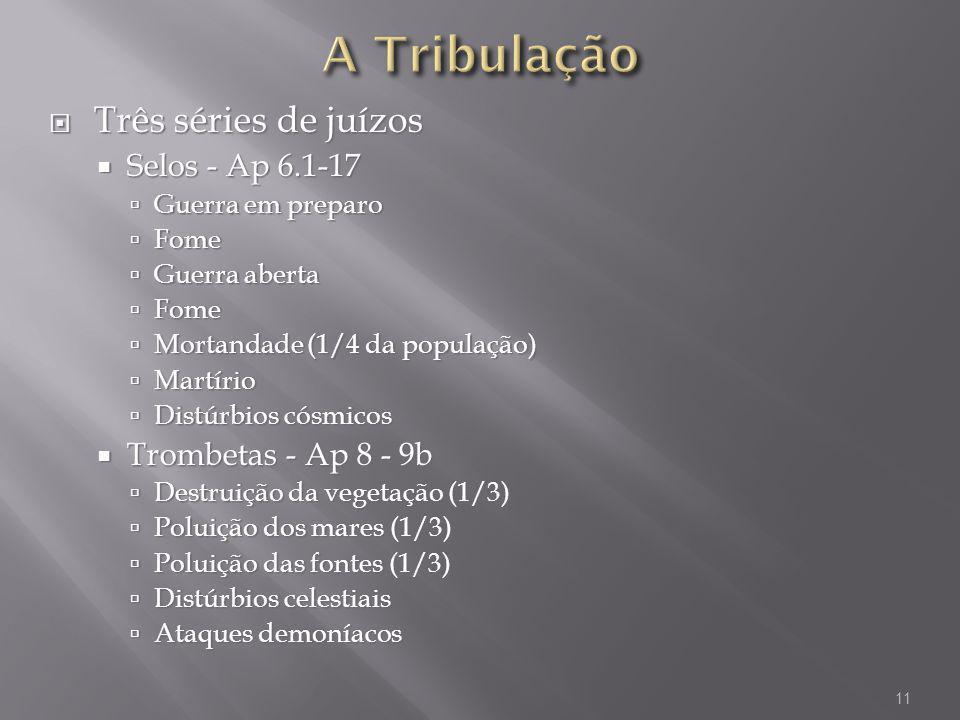 A Tribulação Três séries de juízos Selos - Ap 6.1-17