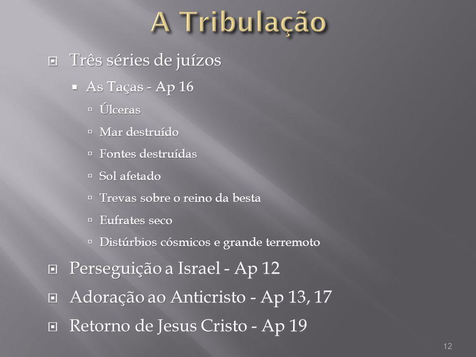 A Tribulação Três séries de juízos Perseguição a Israel - Ap 12