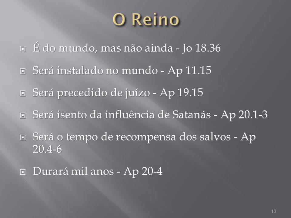 O Reino É do mundo, mas não ainda - Jo 18.36