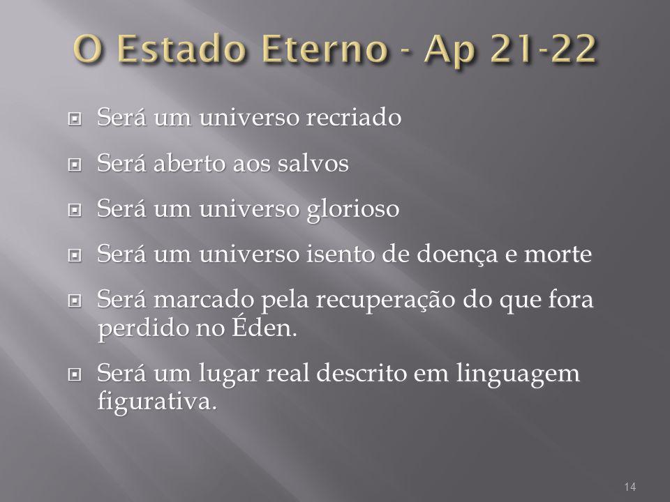 O Estado Eterno - Ap 21-22 Será um universo recriado