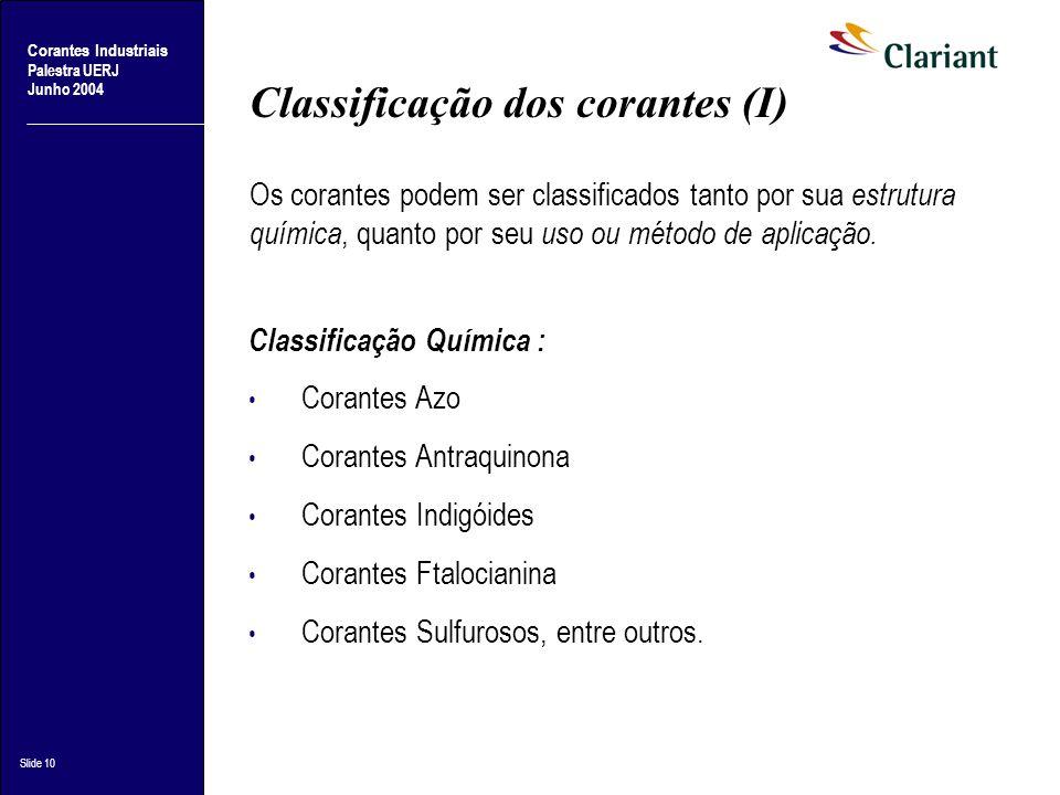 Classificação dos corantes (I)