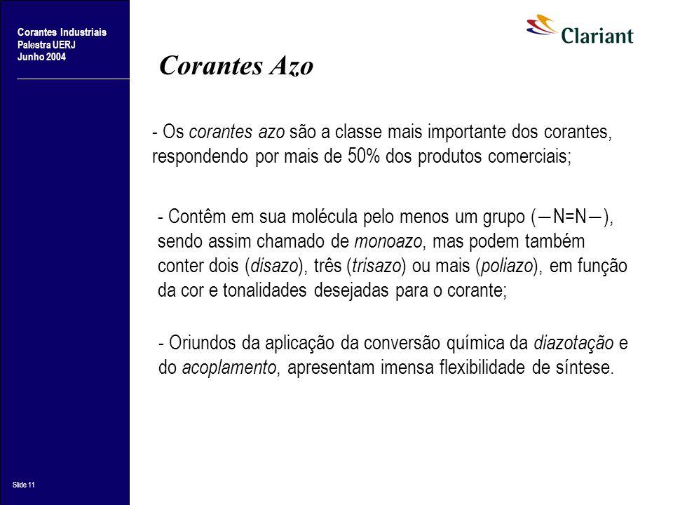 Corantes Azo - Os corantes azo são a classe mais importante dos corantes, respondendo por mais de 50% dos produtos comerciais;