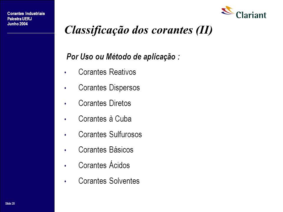 Classificação dos corantes (II)