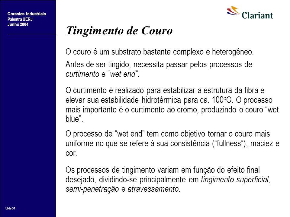 Tingimento de Couro O couro é um substrato bastante complexo e heterogêneo.