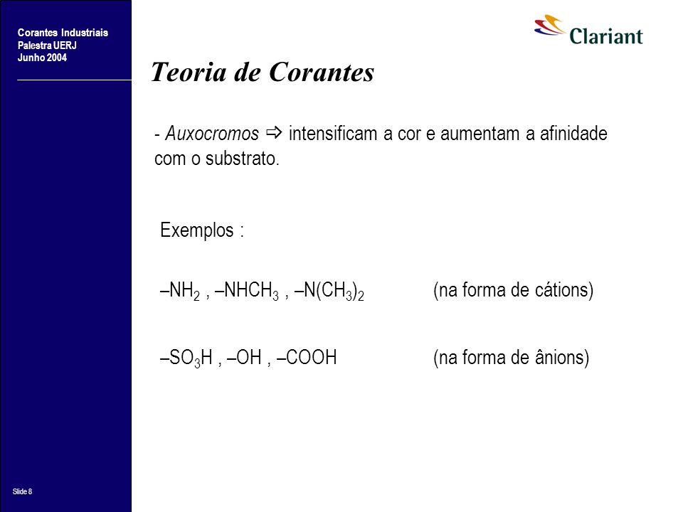 Teoria de Corantes - Auxocromos  intensificam a cor e aumentam a afinidade com o substrato. Exemplos :