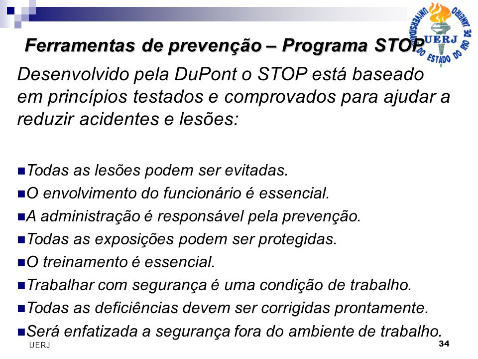 Ferramentas de prevenção – Programa STOP