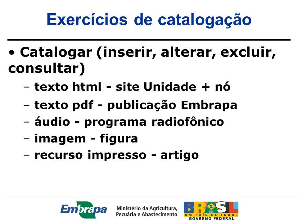 Exercícios de catalogação