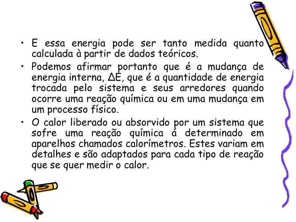 E essa energia pode ser tanto medida quanto calculada à partir de dados teóricos.