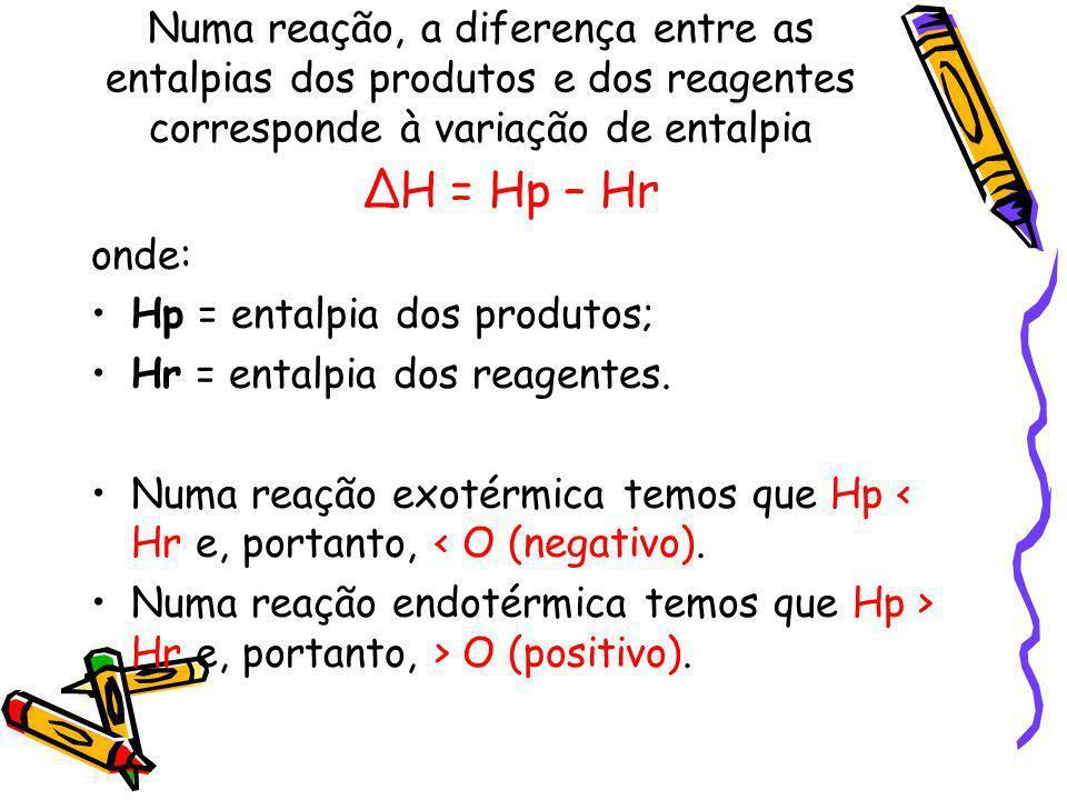 Numa reação, a diferença entre as entalpias dos produtos e dos reagentes corresponde à variação de entalpia