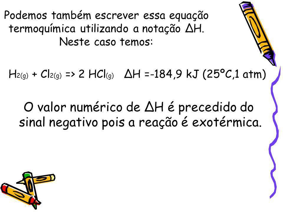 Podemos também escrever essa equação termoquímica utilizando a notação ∆H. Neste caso temos: