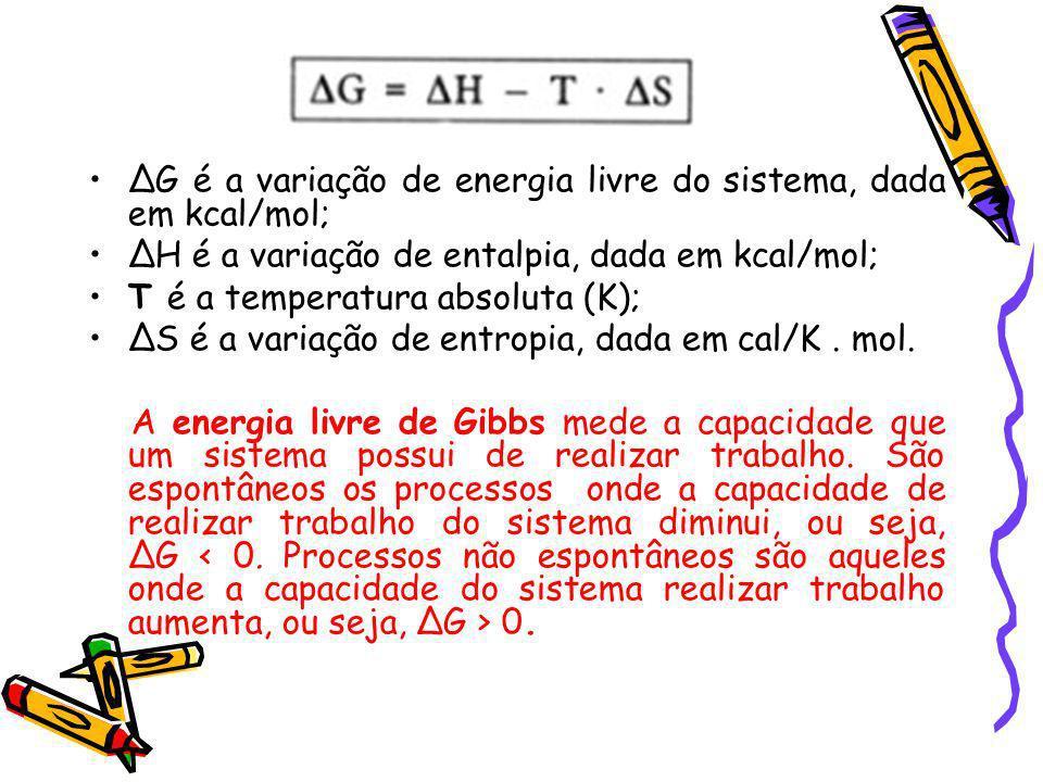 ∆G é a variação de energia livre do sistema, dada em kcal/mol;