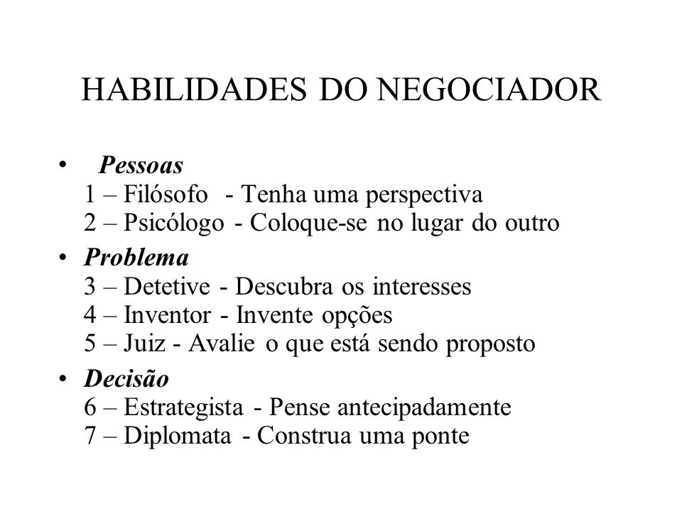 HABILIDADES DO NEGOCIADOR