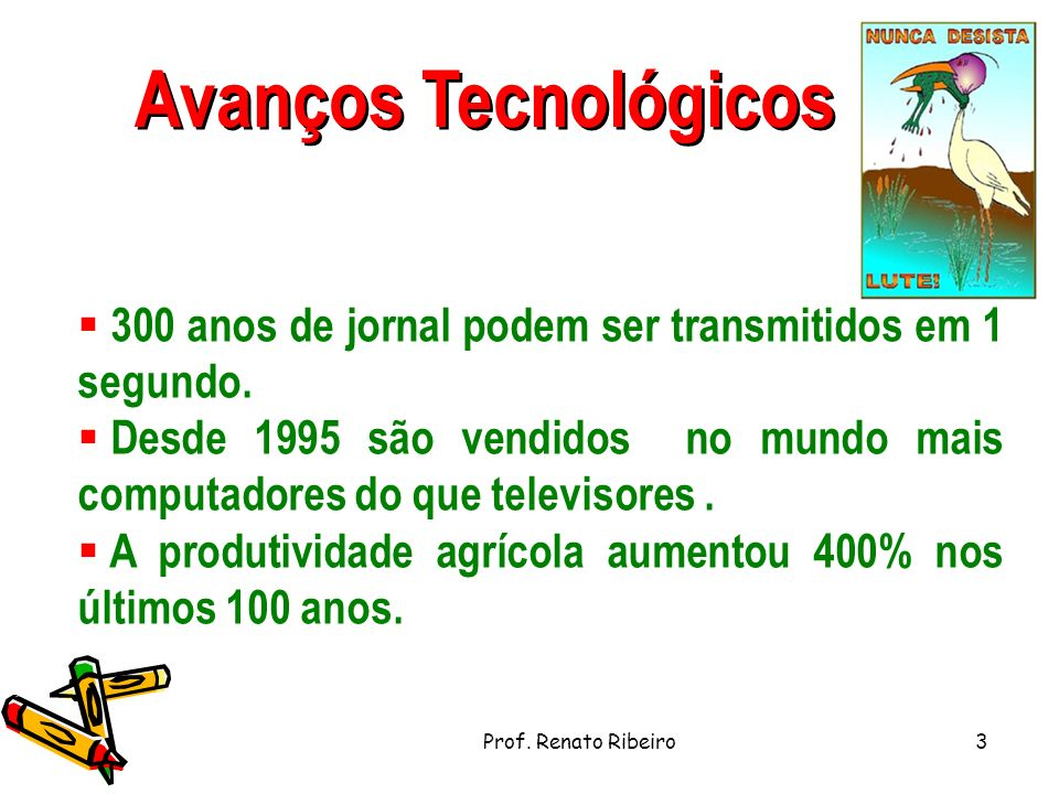 Avanços Tecnológicos 300 anos de jornal podem ser transmitidos em 1 segundo.