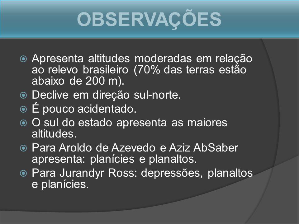 OBSERVAÇÕES Apresenta altitudes moderadas em relação ao relevo brasileiro (70% das terras estão abaixo de 200 m).