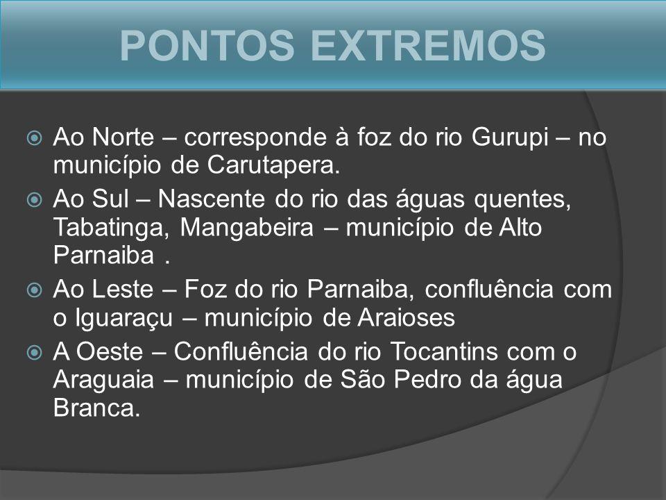 PONTOS EXTREMOS Ao Norte – corresponde à foz do rio Gurupi – no município de Carutapera.