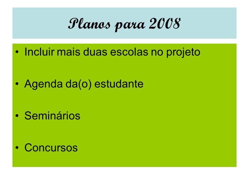 Planos para 2008 Incluir mais duas escolas no projeto