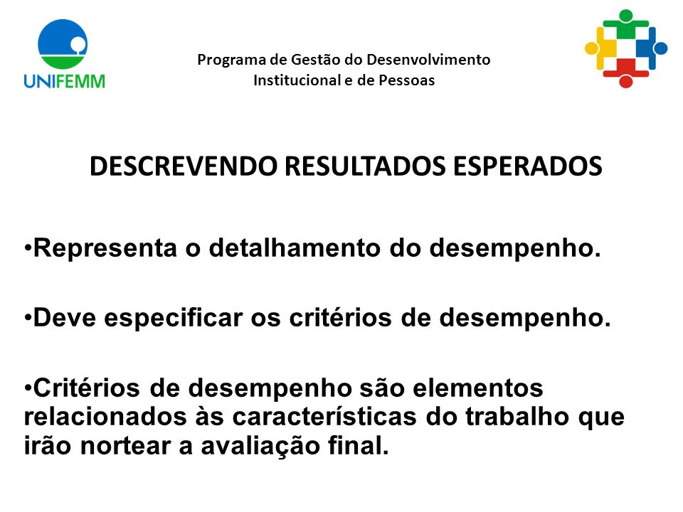 DESCREVENDO RESULTADOS ESPERADOS