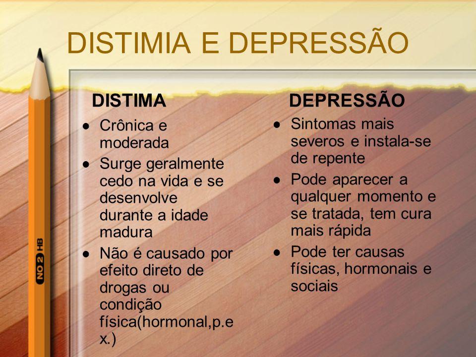 DISTIMIA E DEPRESSÃO DISTIMA DEPRESSÃO