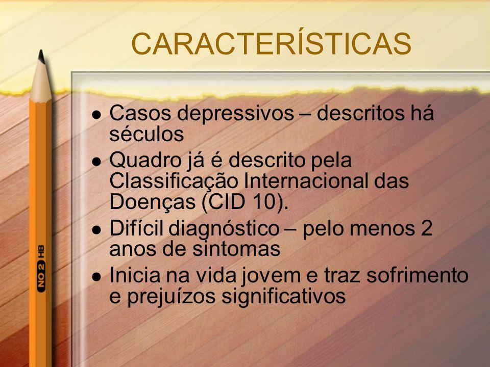CARACTERÍSTICAS Casos depressivos – descritos há séculos