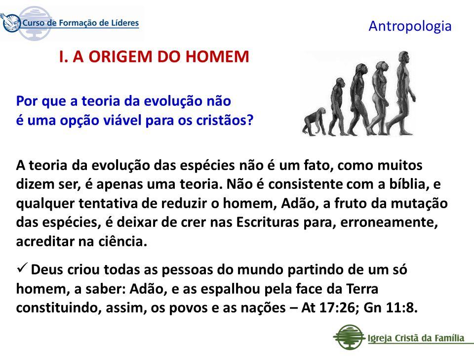 I. A ORIGEM DO HOMEM Antropologia Por que a teoria da evolução não