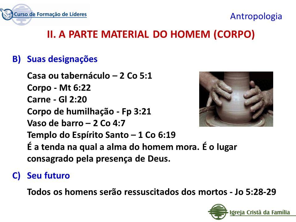 II. A PARTE MATERIAL DO HOMEM (CORPO)