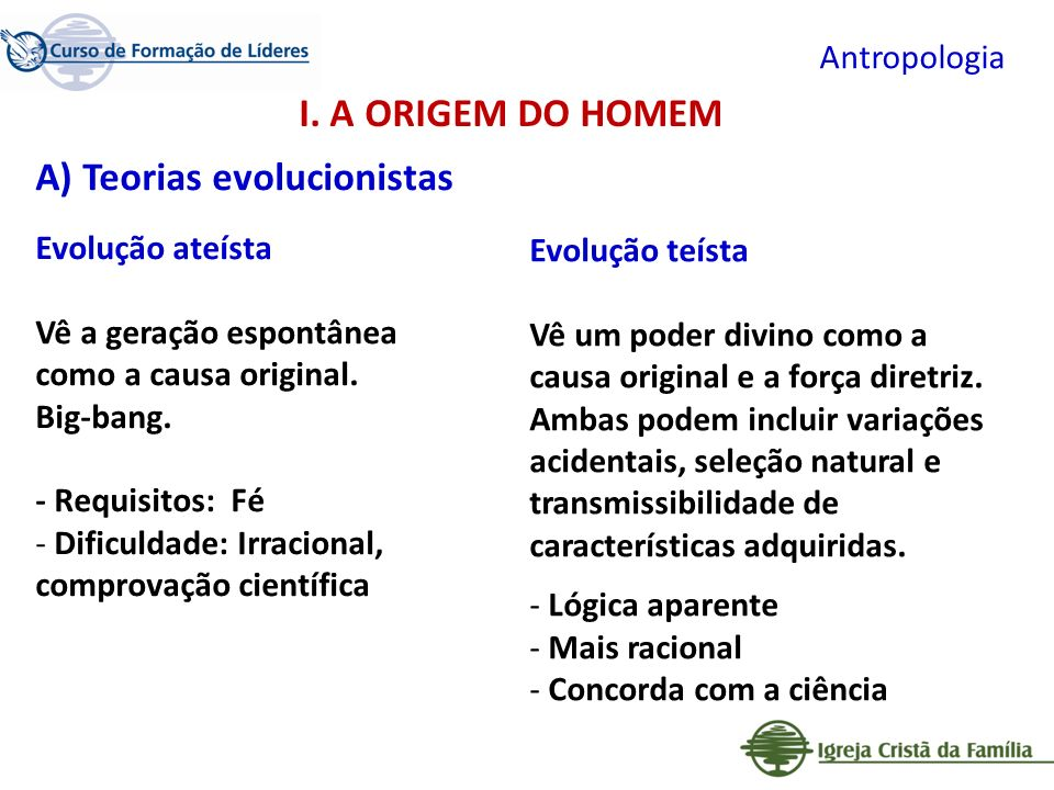 A) Teorias evolucionistas