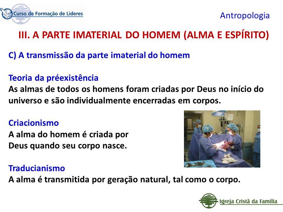 III. A PARTE IMATERIAL DO HOMEM (ALMA E ESPÍRITO)