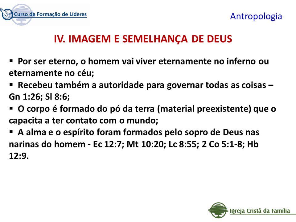 IV. IMAGEM E SEMELHANÇA DE DEUS