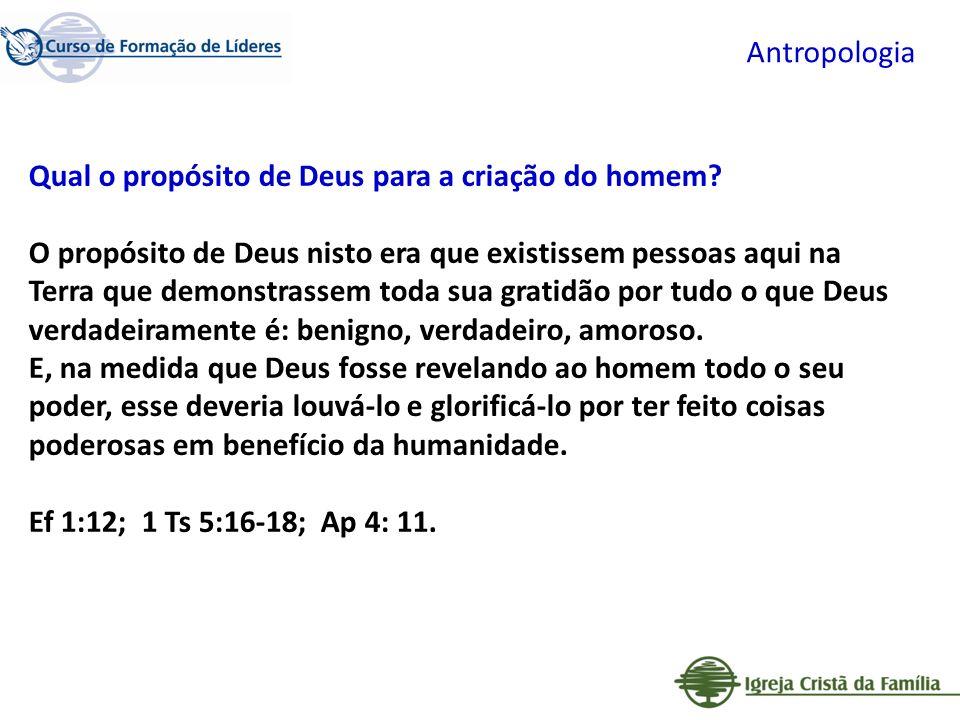 Antropologia Qual o propósito de Deus para a criação do homem