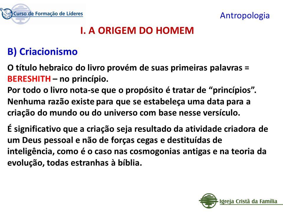 I. A ORIGEM DO HOMEM B) Criacionismo Antropologia