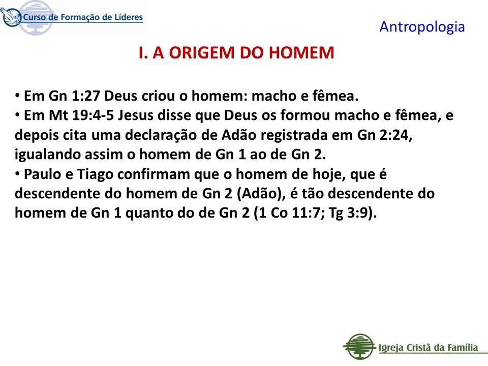 I. A ORIGEM DO HOMEM Antropologia
