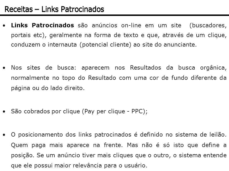 Receitas – Links Patrocinados