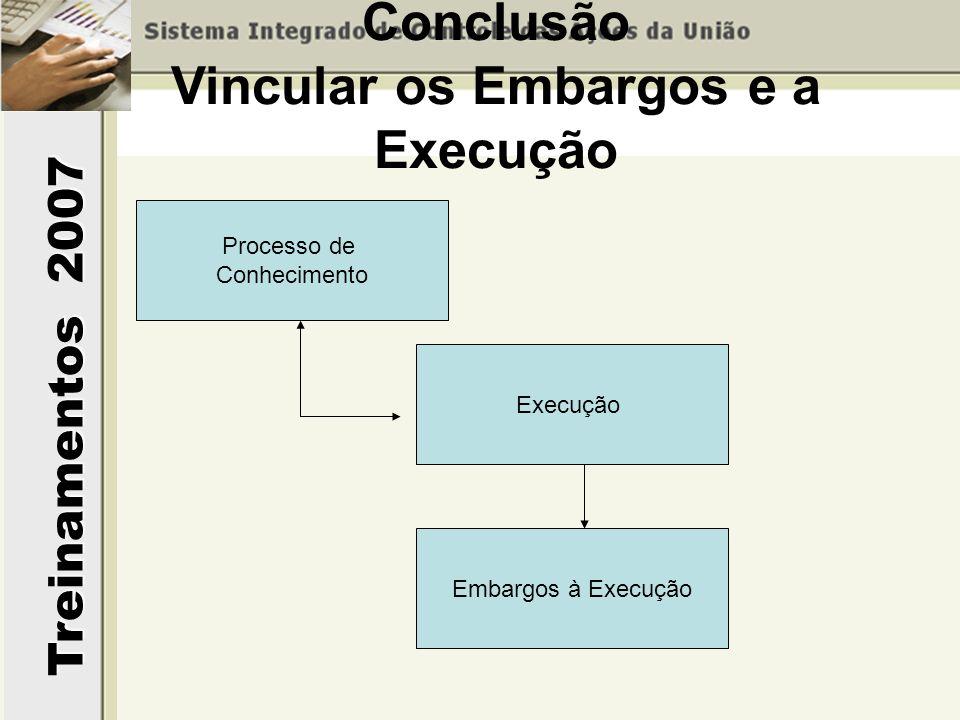 Conclusão Vincular os Embargos e a Execução