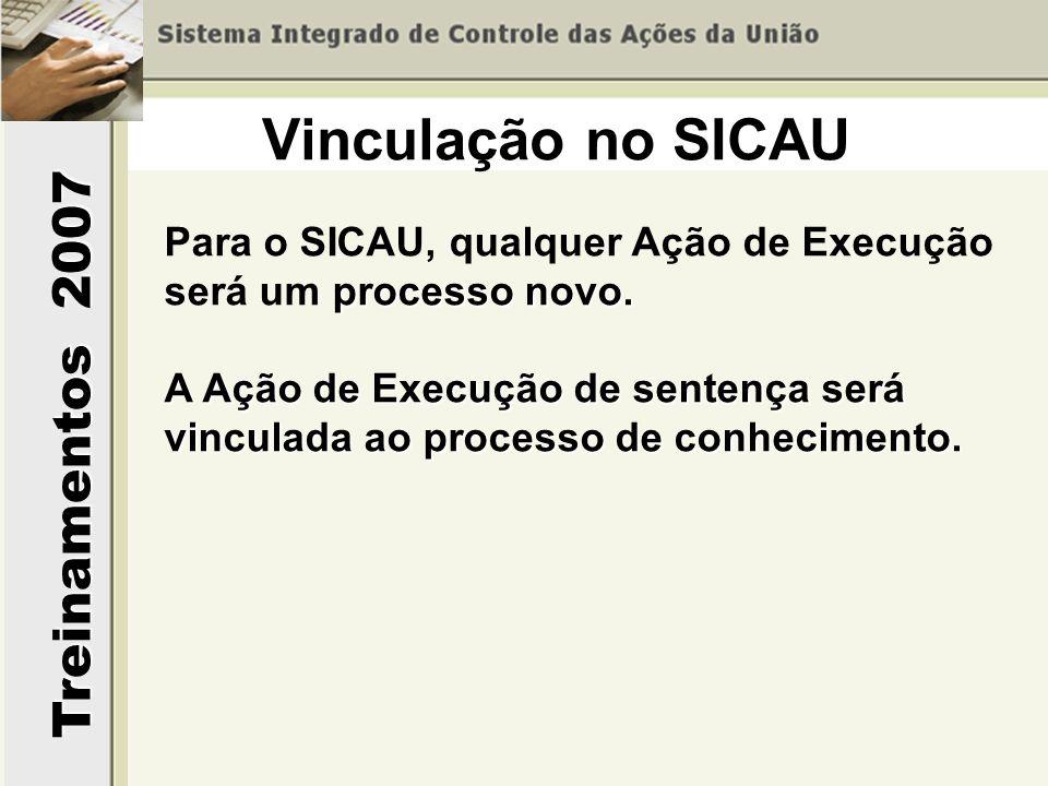 Vinculação no SICAUPara o SICAU, qualquer Ação de Execução será um processo novo.